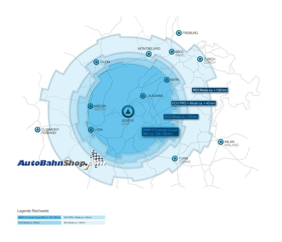 BMW i3 Concept Coupe Driving Range Chart